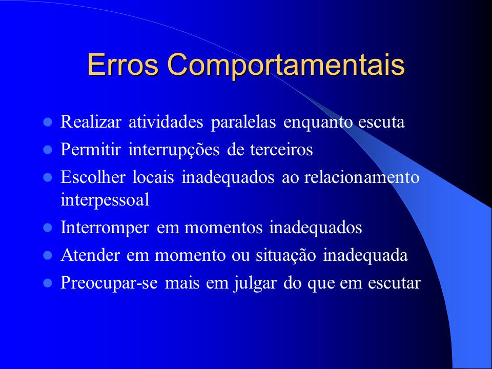 Erros Comportamentais