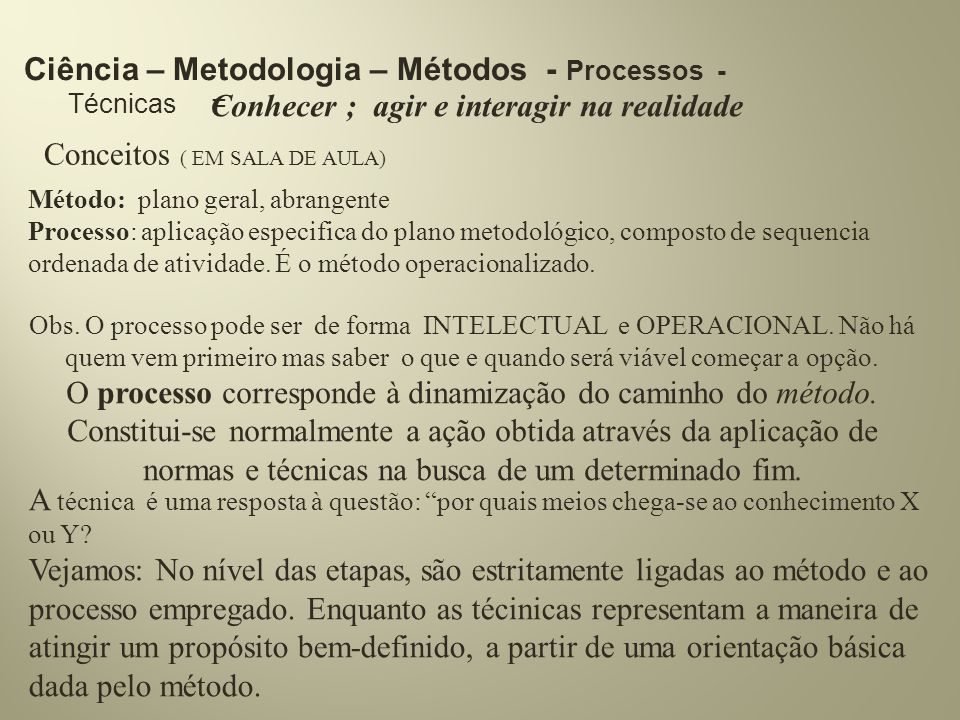 Ciência – Metodologia – Métodos - Processos - Técnicas =