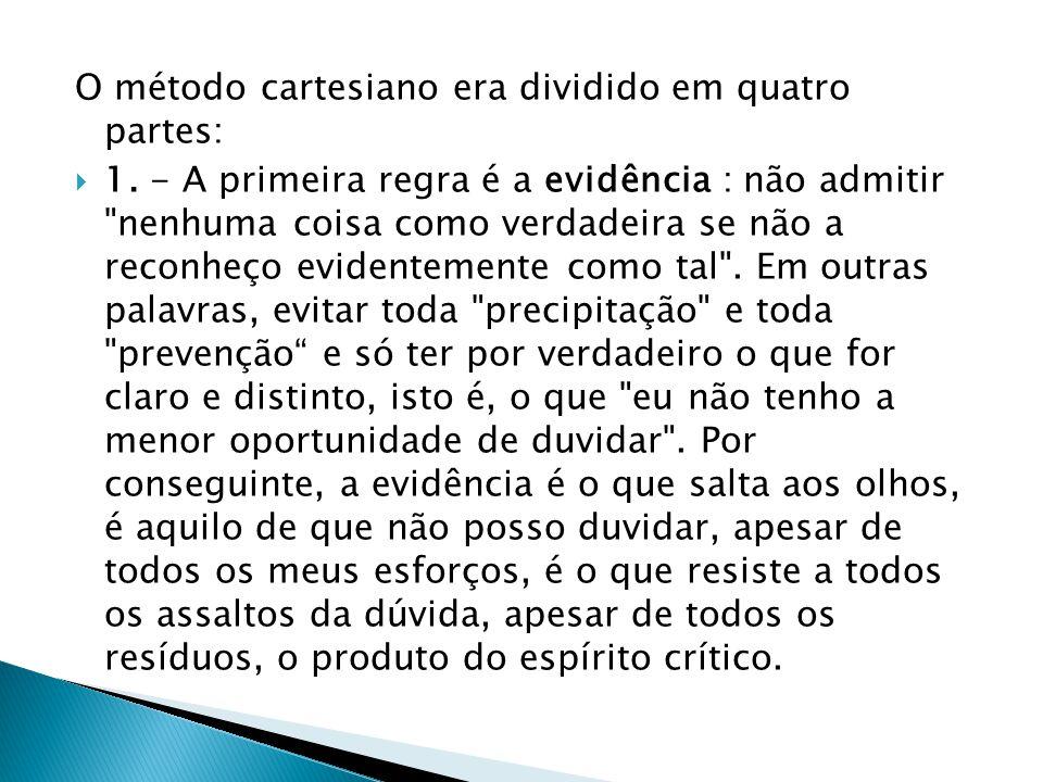 O método cartesiano era dividido em quatro partes:
