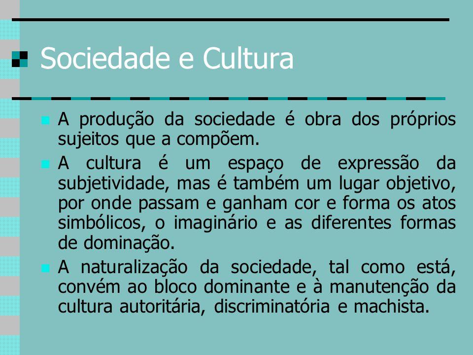 Sociedade e Cultura A produção da sociedade é obra dos próprios sujeitos que a compõem.