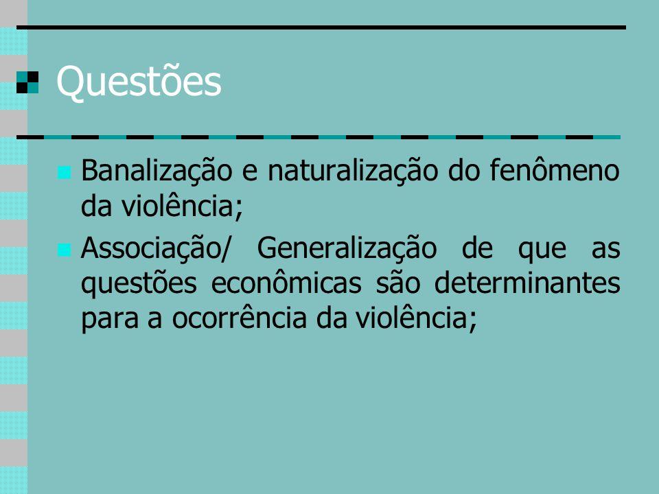 Questões Banalização e naturalização do fenômeno da violência;