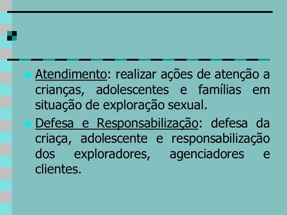 Atendimento: realizar ações de atenção a crianças, adolescentes e famílias em situação de exploração sexual.