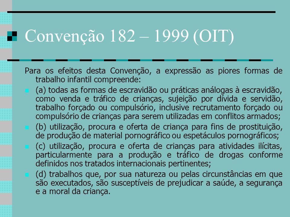 Convenção 182 – 1999 (OIT) Para os efeitos desta Convenção, a expressão as piores formas de trabalho infantil compreende: