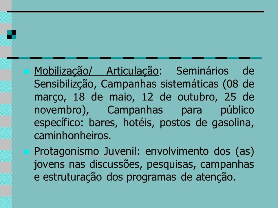 Mobilização/ Articulação: Seminários de Sensibilizção, Campanhas sistemáticas (08 de março, 18 de maio, 12 de outubro, 25 de novembro), Campanhas para público específico: bares, hotéis, postos de gasolina, caminhonheiros.