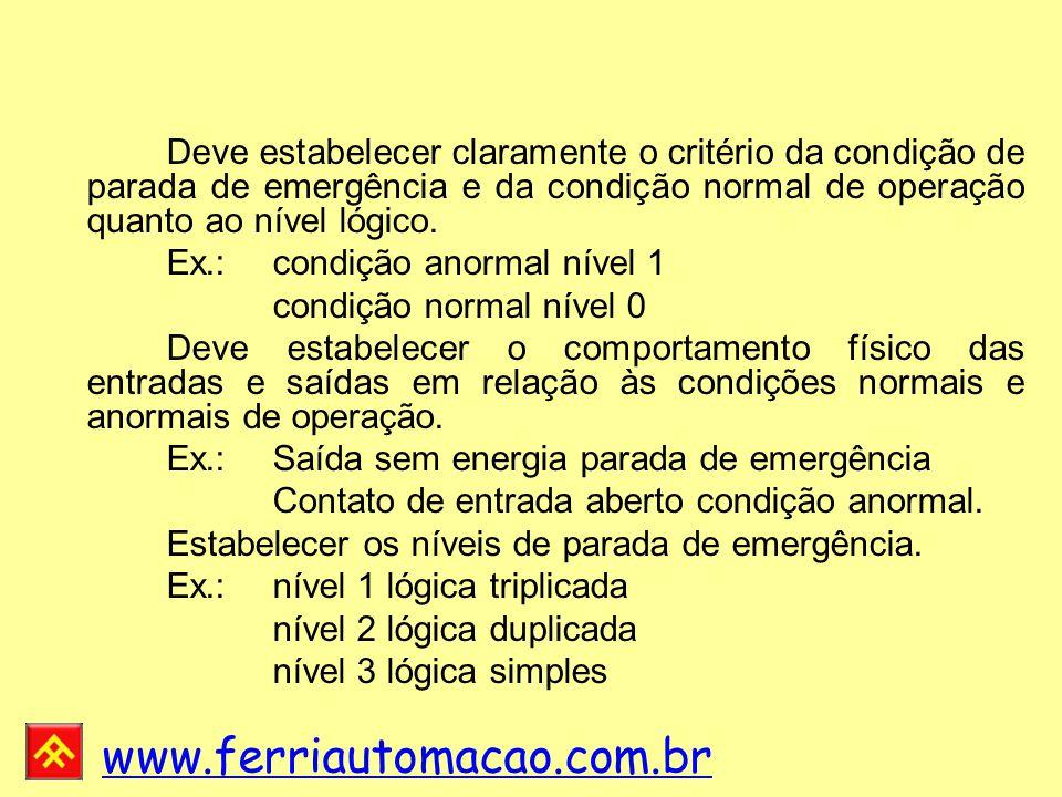 Ex.: condição anormal nível 1 condição normal nível 0