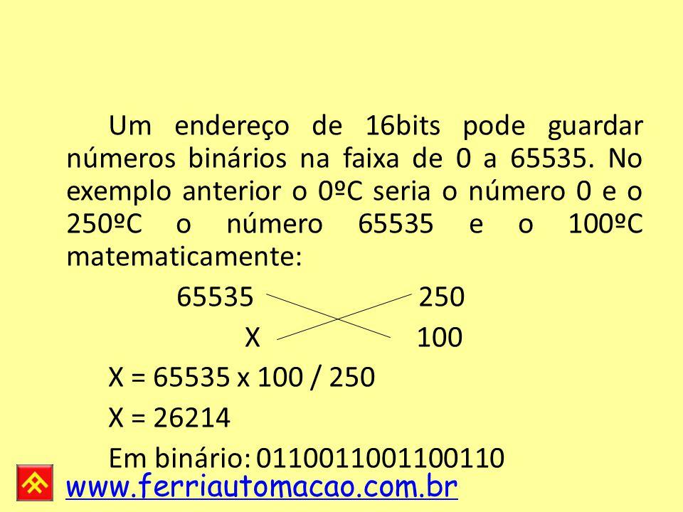 Um endereço de 16bits pode guardar números binários na faixa de 0 a 65535.