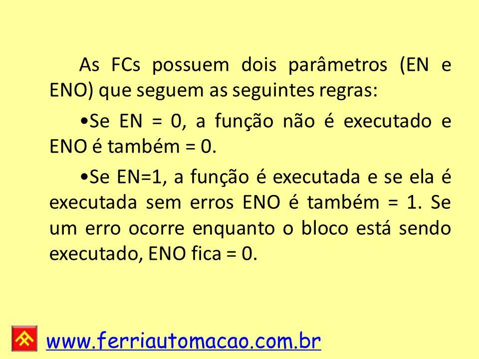 As FCs possuem dois parâmetros (EN e ENO) que seguem as seguintes regras: •Se EN = 0, a função não é executado e ENO é também = 0.