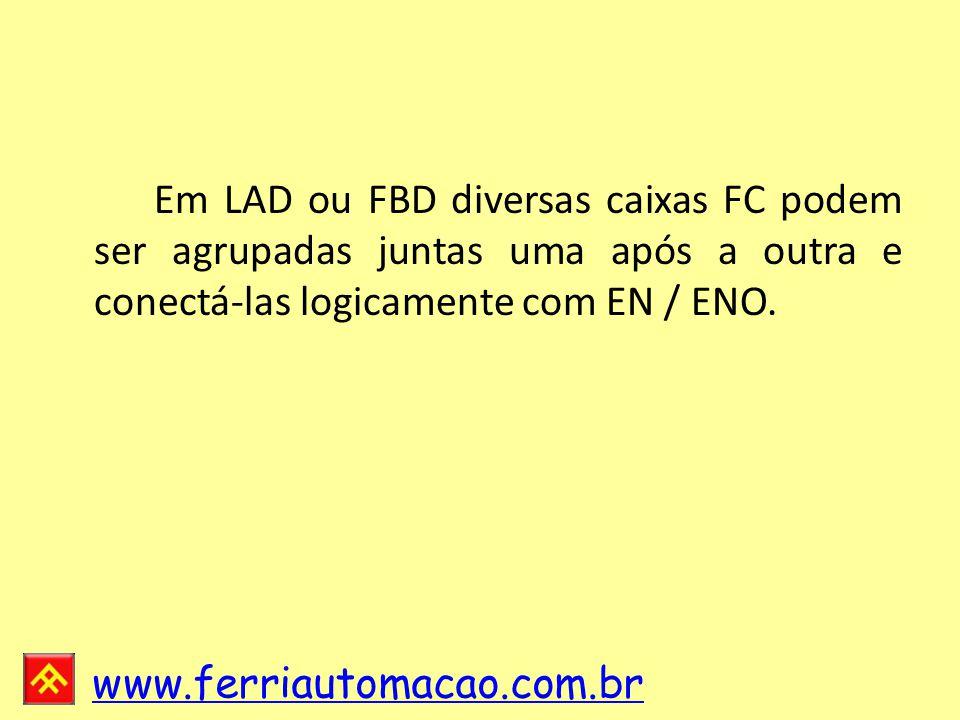 Em LAD ou FBD diversas caixas FC podem ser agrupadas juntas uma após a outra e conectá-las logicamente com EN / ENO.