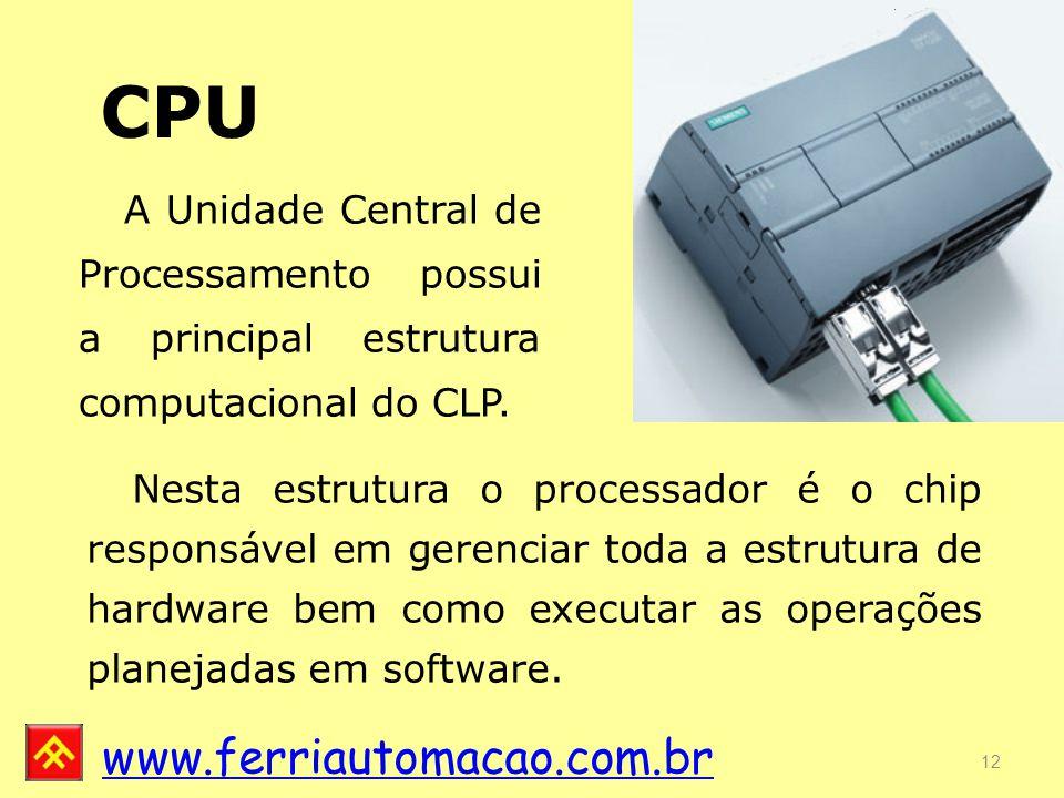 CPU A Unidade Central de Processamento possui a principal estrutura computacional do CLP.