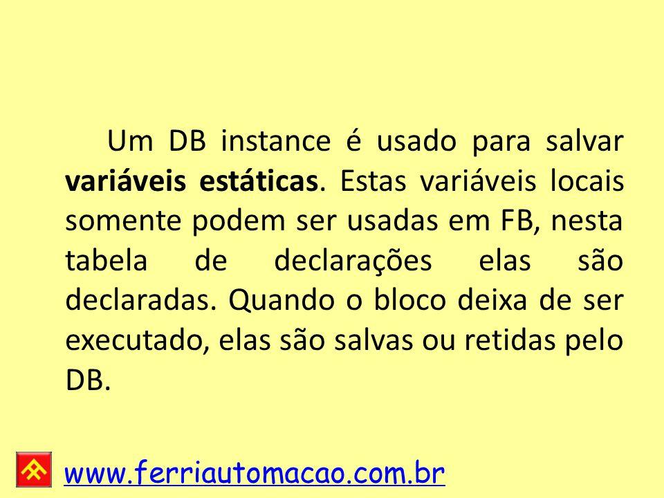 Um DB instance é usado para salvar variáveis estáticas