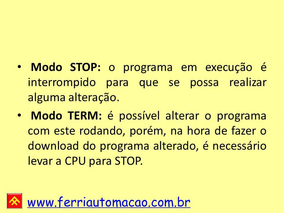 Modo STOP: o programa em execução é interrompido para que se possa realizar alguma alteração.