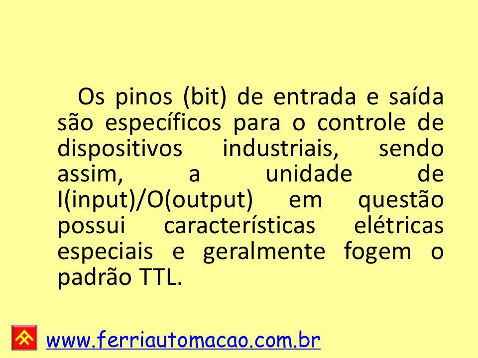 Os pinos (bit) de entrada e saída são específicos para o controle de dispositivos industriais, sendo assim, a unidade de I(input)/O(output) em questão possui características elétricas especiais e geralmente fogem o padrão TTL.