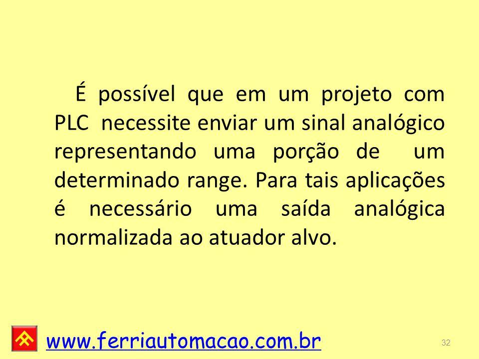 É possível que em um projeto com PLC necessite enviar um sinal analógico representando uma porção de um determinado range.