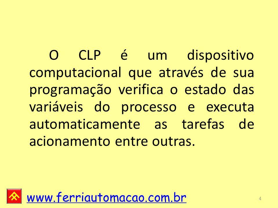 O CLP é um dispositivo computacional que através de sua programação verifica o estado das variáveis do processo e executa automaticamente as tarefas de acionamento entre outras.