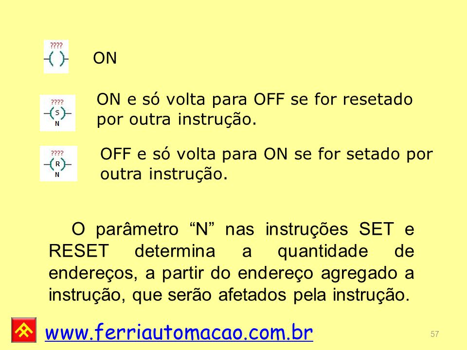 ON ON e só volta para OFF se for resetado por outra instrução. OFF e só volta para ON se for setado por outra instrução.