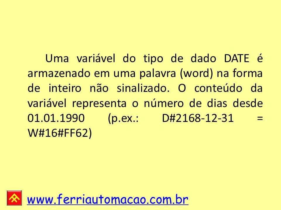Uma variável do tipo de dado DATE é armazenado em uma palavra (word) na forma de inteiro não sinalizado.