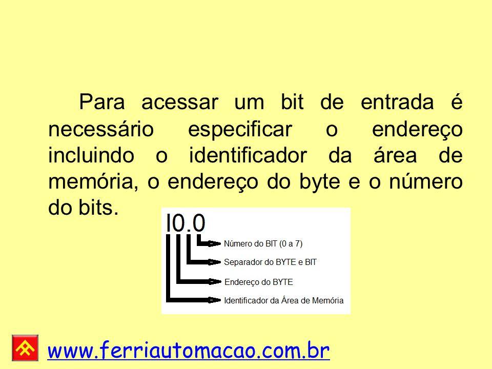 Para acessar um bit de entrada é necessário especificar o endereço incluindo o identificador da área de memória, o endereço do byte e o número do bits.