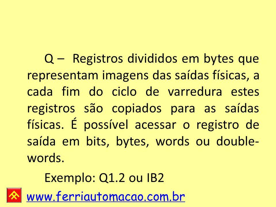 Q – Registros divididos em bytes que representam imagens das saídas físicas, a cada fim do ciclo de varredura estes registros são copiados para as saídas físicas. É possível acessar o registro de saída em bits, bytes, words ou double-words.