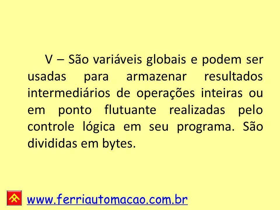 V – São variáveis globais e podem ser usadas para armazenar resultados intermediários de operações inteiras ou em ponto flutuante realizadas pelo controle lógica em seu programa.