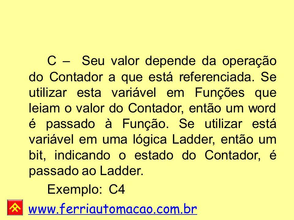 C – Seu valor depende da operação do Contador a que está referenciada