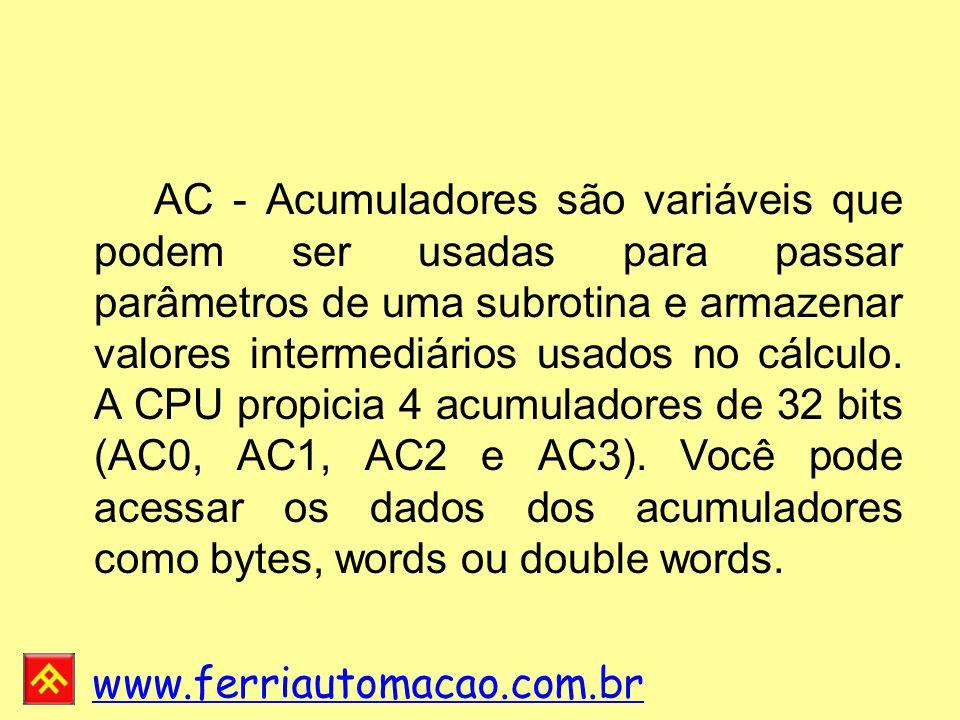 AC - Acumuladores são variáveis que podem ser usadas para passar parâmetros de uma subrotina e armazenar valores intermediários usados no cálculo.