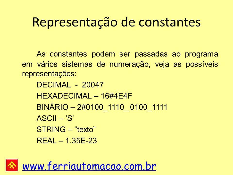 Representação de constantes