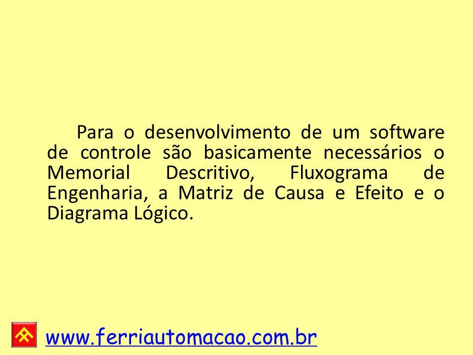 Para o desenvolvimento de um software de controle são basicamente necessários o Memorial Descritivo, Fluxograma de Engenharia, a Matriz de Causa e Efeito e o Diagrama Lógico.
