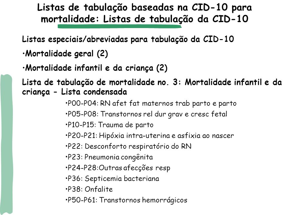Listas de tabulação baseadas na CID-10 para mortalidade: Listas de tabulação da CID-10
