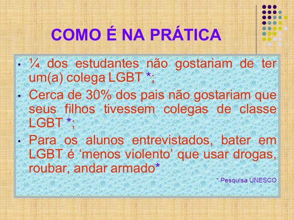 COMO É NA PRÁTICA ¼ dos estudantes não gostariam de ter um(a) colega LGBT *;