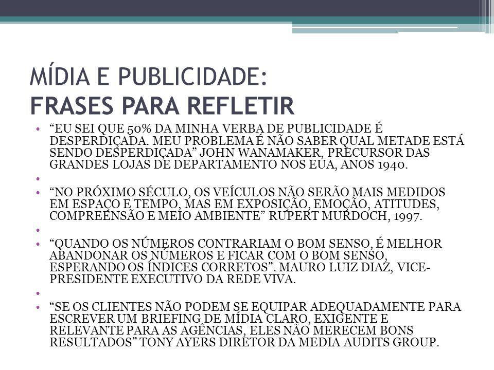 MÍDIA E PUBLICIDADE: FRASES PARA REFLETIR