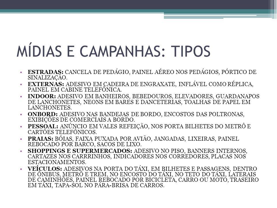 MÍDIAS E CAMPANHAS: TIPOS