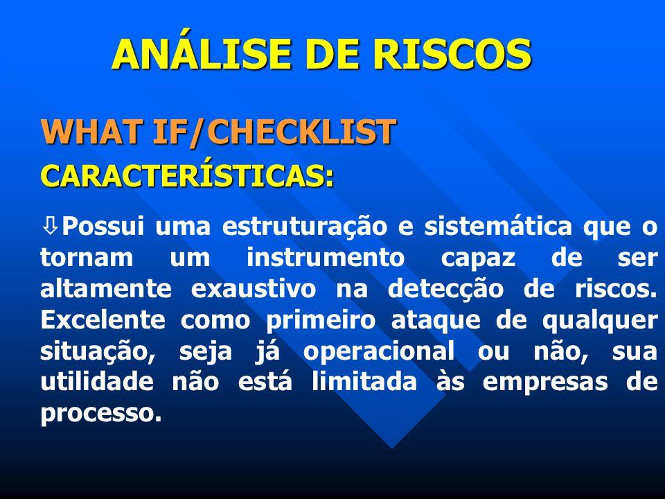 ANÁLISE DE RISCOS WHAT IF/CHECKLIST CARACTERÍSTICAS: