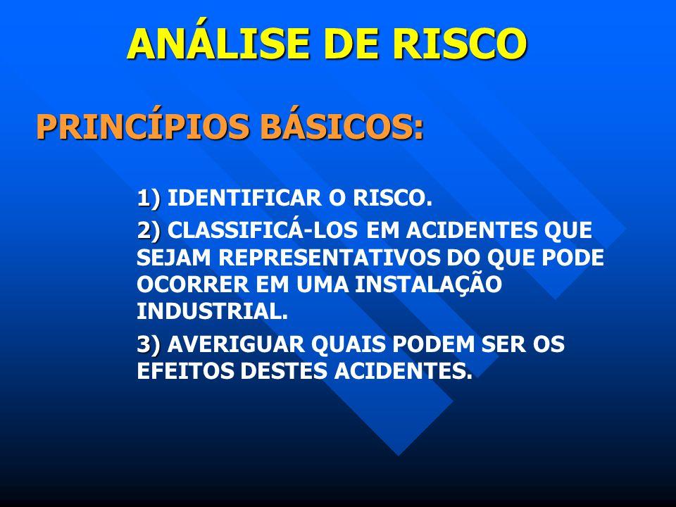 ANÁLISE DE RISCO PRINCÍPIOS BÁSICOS: 1) IDENTIFICAR O RISCO.