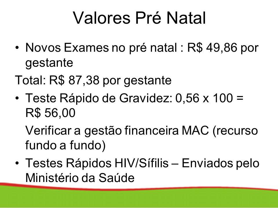 Valores Pré Natal Novos Exames no pré natal : R$ 49,86 por gestante