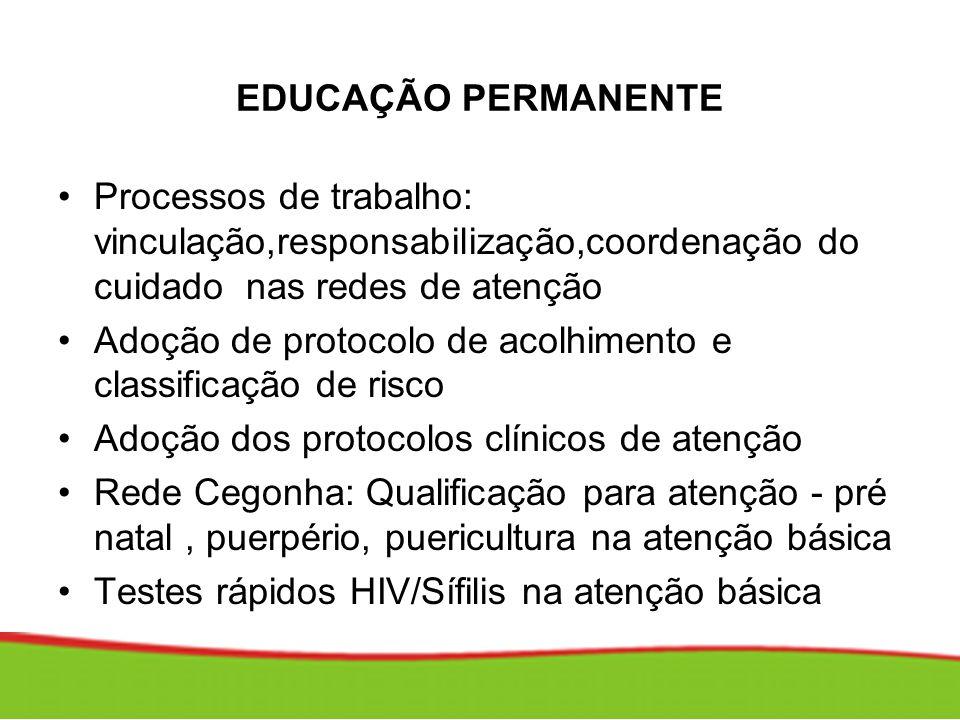 EDUCAÇÃO PERMANENTE Processos de trabalho: vinculação,responsabilização,coordenação do cuidado nas redes de atenção.