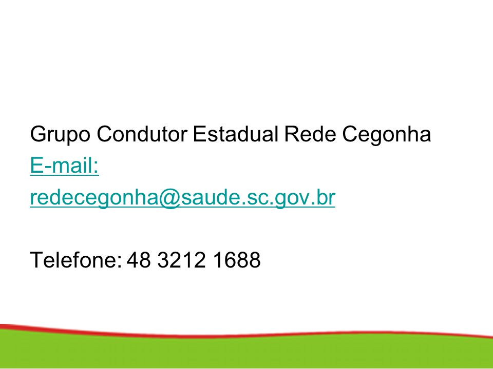 Grupo Condutor Estadual Rede Cegonha E-mail: redecegonha@saude.sc.gov.br Telefone: 48 3212 1688