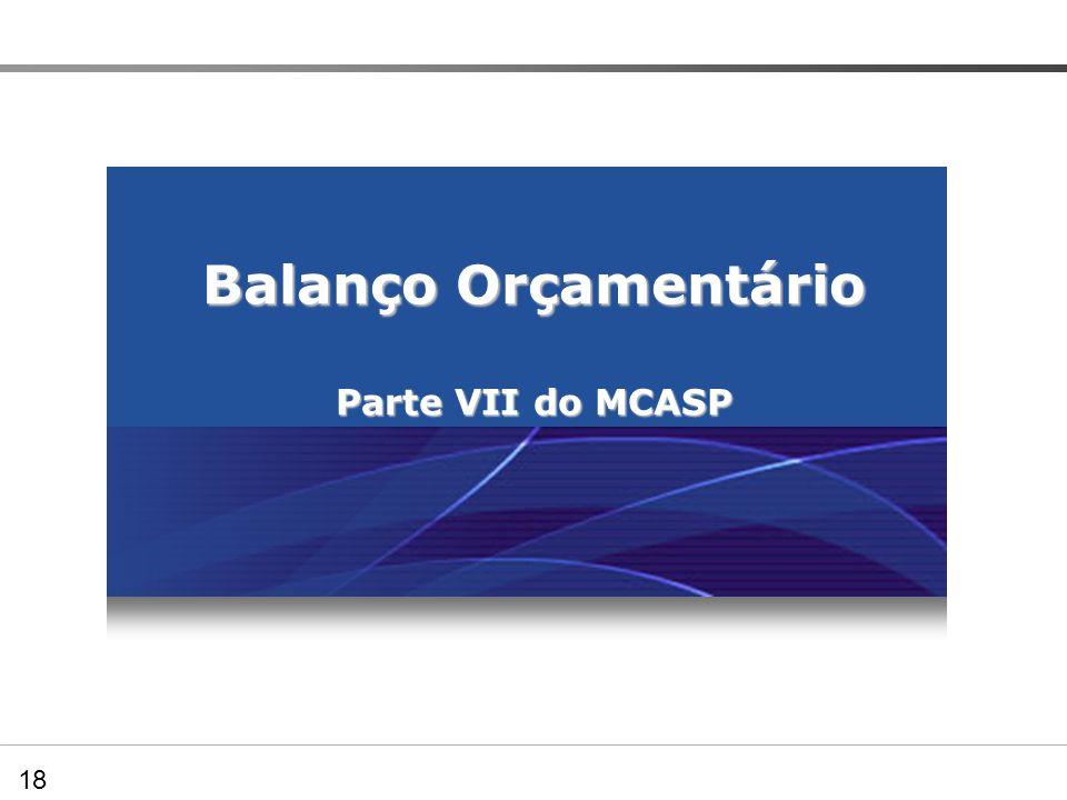 Balanço Orçamentário Parte VII do MCASP