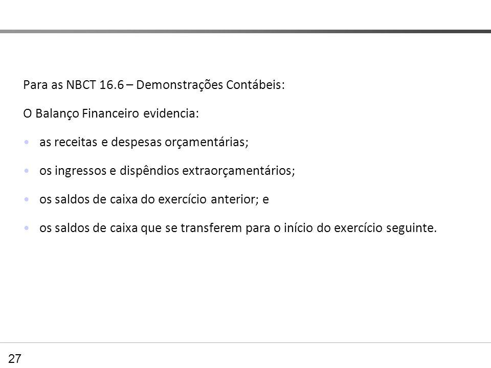Para as NBCT 16.6 – Demonstrações Contábeis: