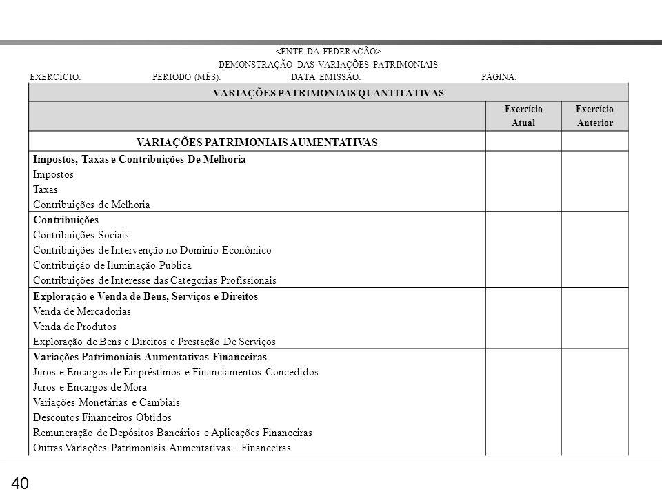 DVP – Nova estrutura VARIAÇÕES PATRIMONIAIS AUMENTATIVAS