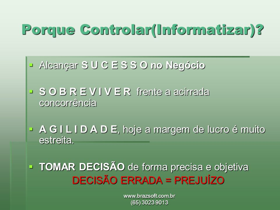 Porque Controlar(Informatizar)