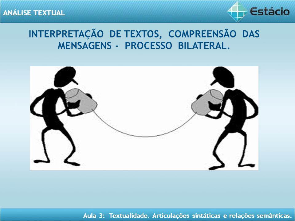 INTERPRETAÇÃO DE TEXTOS, COMPREENSÃO DAS MENSAGENS - PROCESSO BILATERAL.
