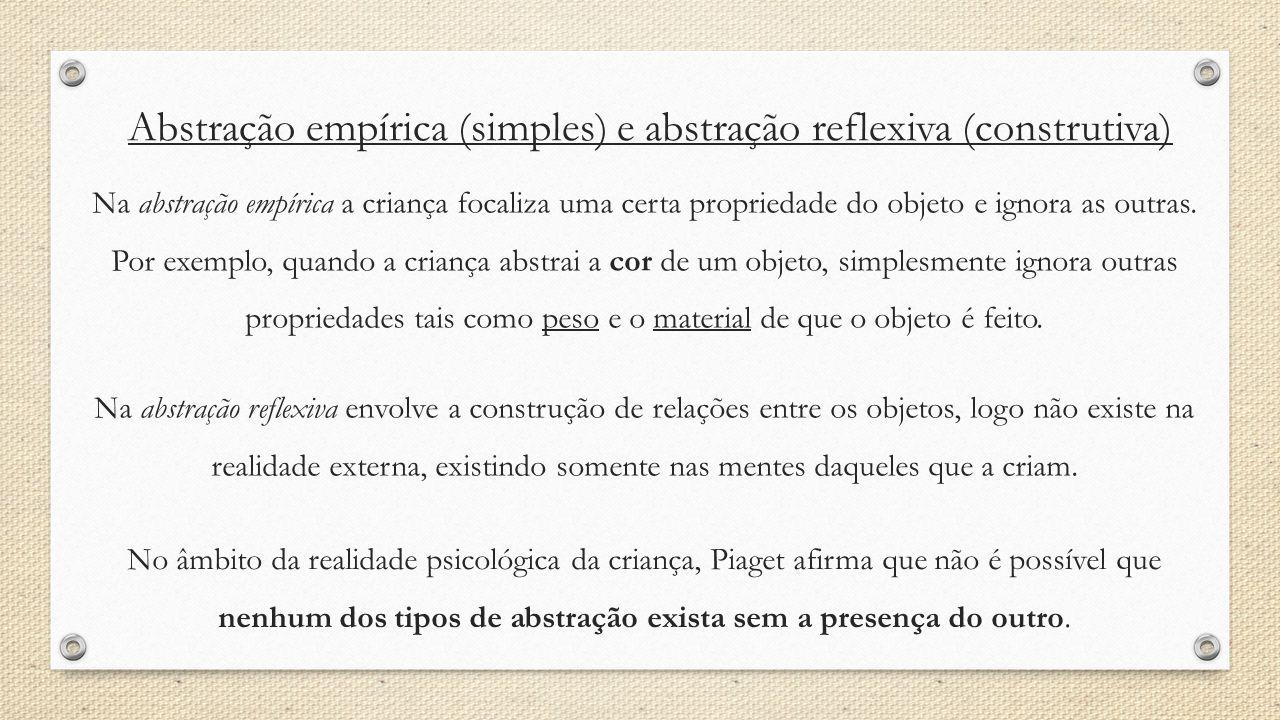 Abstração empírica (simples) e abstração reflexiva (construtiva)