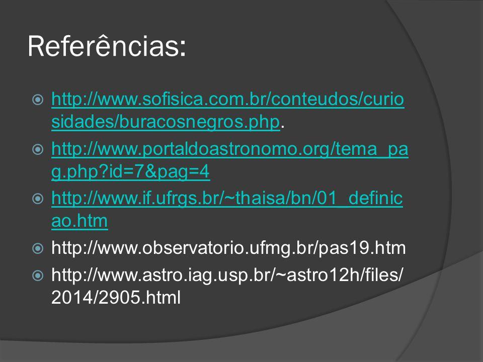 Referências: http://www.sofisica.com.br/conteudos/curiosidades/buracosnegros.php. http://www.portaldoastronomo.org/tema_pag.php id=7&pag=4.
