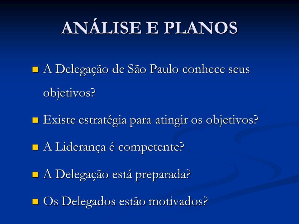 ANÁLISE E PLANOS A Delegação de São Paulo conhece seus objetivos