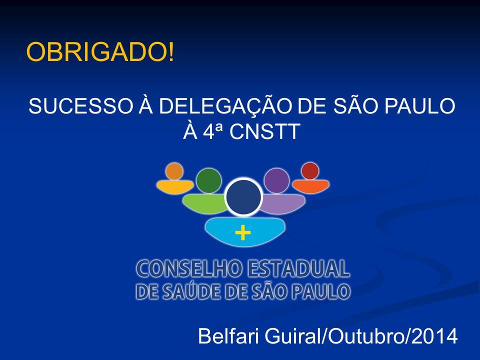 SUCESSO À DELEGAÇÃO DE SÃO PAULO À 4ª CNSTT