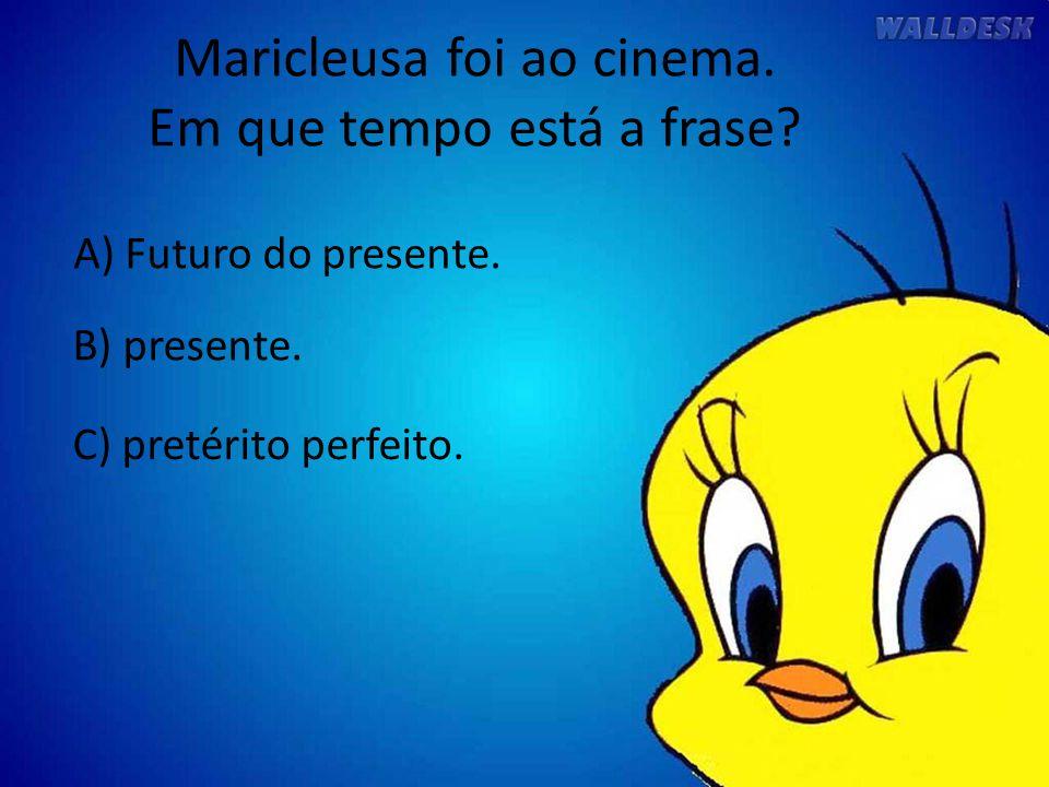 Maricleusa foi ao cinema. Em que tempo está a frase