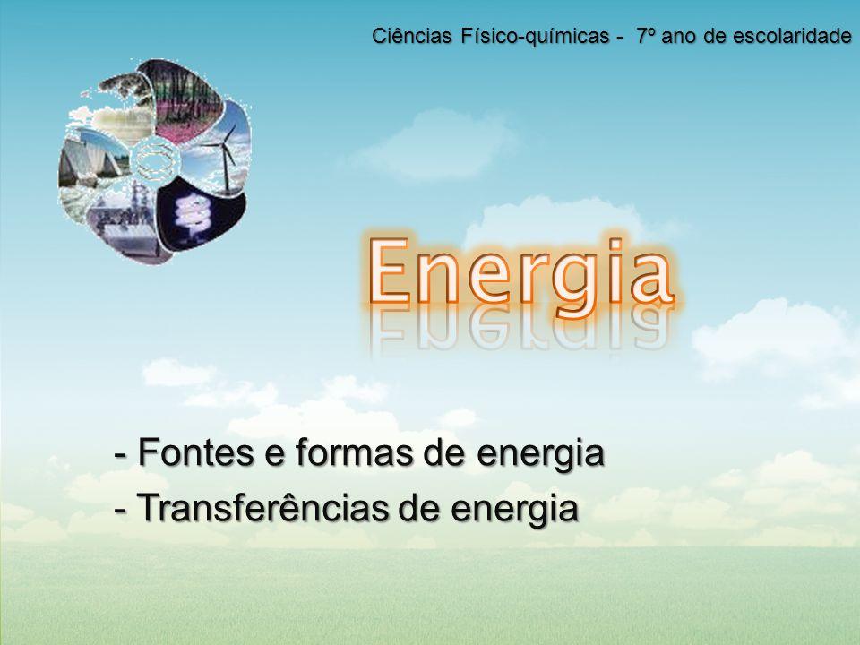 - Fontes e formas de energia - Transferências de energia