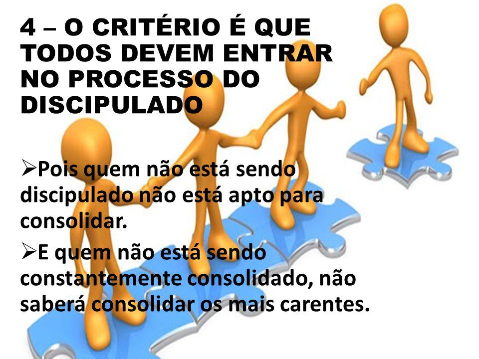 4 – O CRITÉRIO É QUE TODOS DEVEM ENTRAR NO PROCESSO DO DISCIPULADO