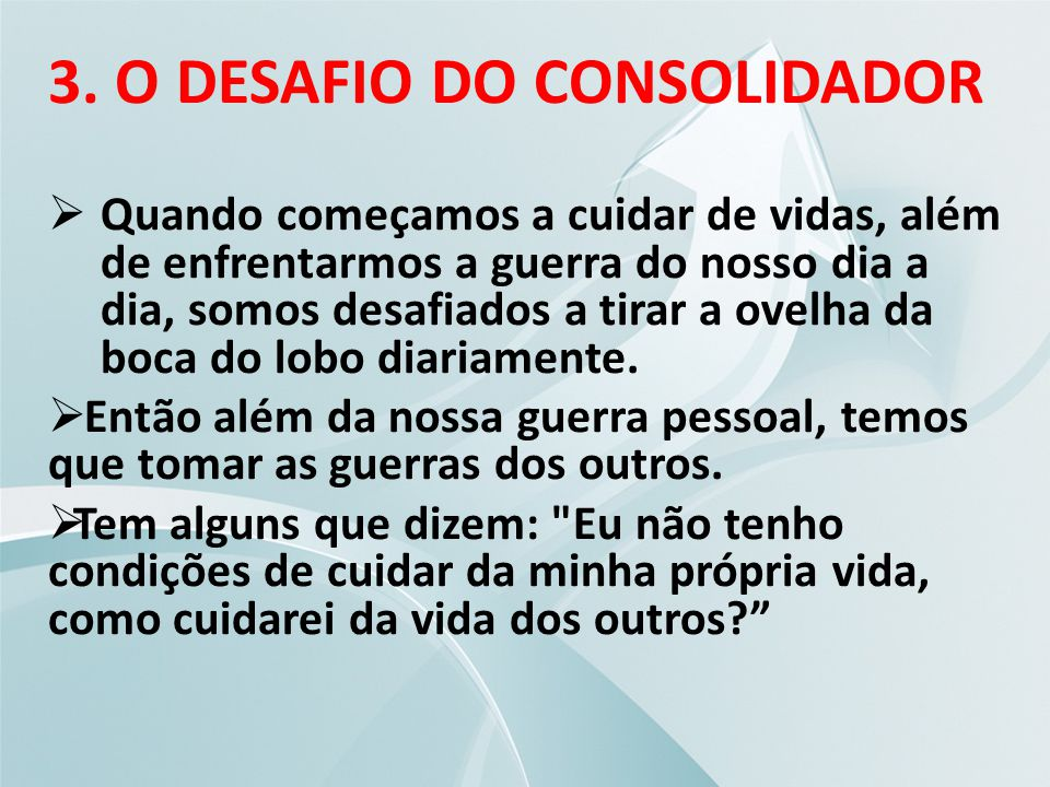 3. O DESAFIO DO CONSOLIDADOR