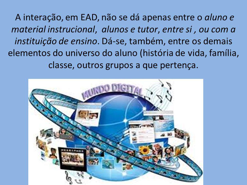 A interação, em EAD, não se dá apenas entre o aluno e material instrucional, alunos e tutor, entre si , ou com a instituição de ensino.